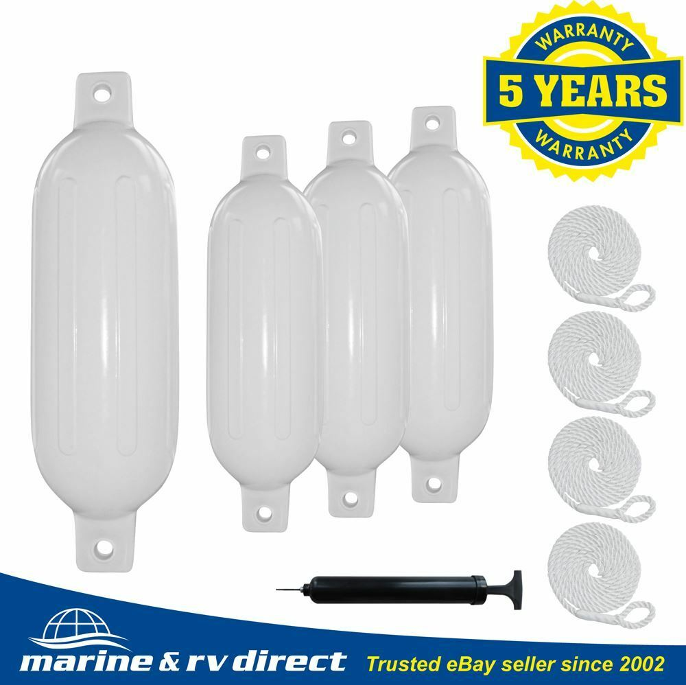 White Boat Fenders 11x40mm Bumpers Vinyl Docking Ribbed with Cover