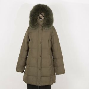 Women-s-Winter-Puffer-Down-Parka-Coat-L-Large-Green-Insulated-Hooded-MERONA