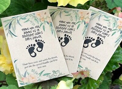 10 x Personalised WILDFLOWER Seed Baby Shower Favours Unisex Vintage Boy//girl