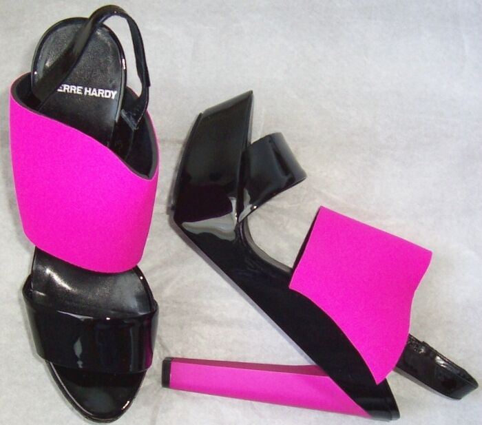 PIERRE HARDY Black Patent Leather Magenta Platform Sandals shoes 9 9 9 3292df