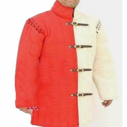 X-Mas Gift Thick Padded Red And White Medieval Gambeson Costumes Suit Of Armor