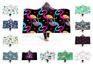 Tropical-Leaves-Palm-Flamingo-Toucan-Winter-Fleece-Hooded-Blanket-Sofa-Throw