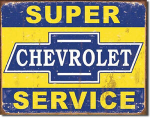 Super-Chevrolet-Service-TIN-SIGN-vintage-rustic-chevy-garage-metal-decor-ad-1355