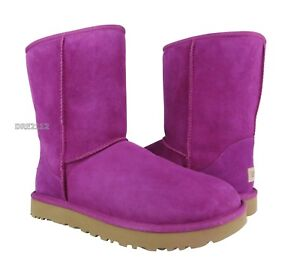 b4207abf0b0 Details about UGG Classic Short II Magenta Rose Suede Fur Boots Womens Size  7 *NIB*