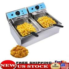16l Electric Deep Fryer Dual Tank Commercial Restaurant Stainless Steel 4000w