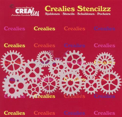 Schablone Zahnrad Gear 58x148mm CREAlies Zahnräder Stencil Textil Wand
