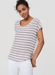 NWT-Ann-Taylor-Loft-Striped-Mixed-Media-Tee-Top-44-50-Pink-Grey