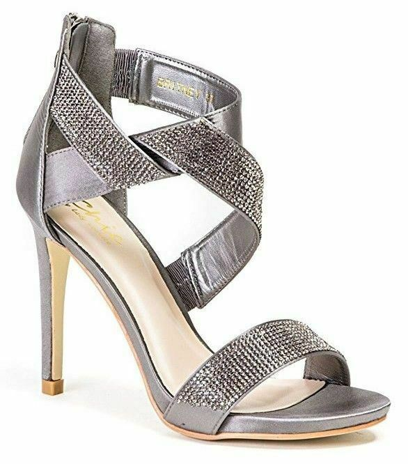 Lady Couture Wouomo Britney Twisted Rhinestone Strap High Heels Pewter