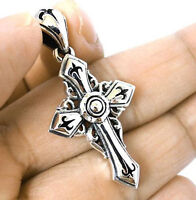 SMOOTH CELTIC CHROME CROSS STERLING 925 SILVER PENDANT NEW TOP QUALITY JEWELRY