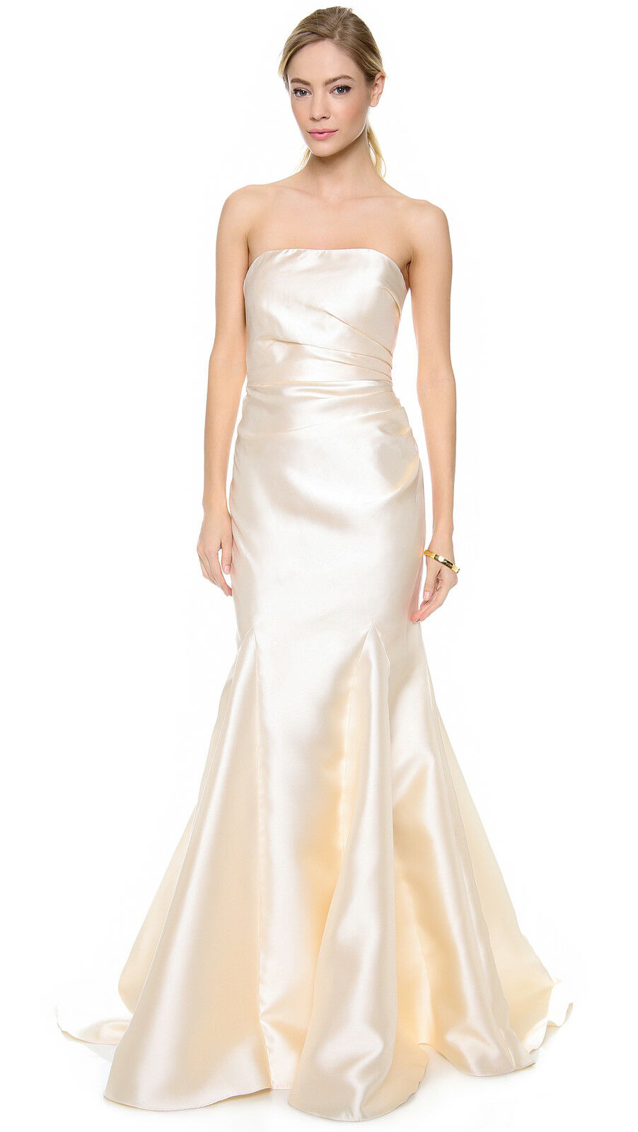 NWT Badgley Mischka Ivory Exposed Side Zip Strapless Ruched Dress Gown 4  695