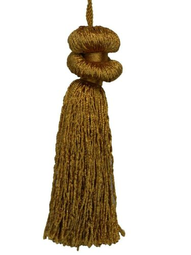 """Conso Princess 21320 D25 HARVEST GOLD Decorative Double Bell 4/"""" Tassel 3/"""" Loop"""