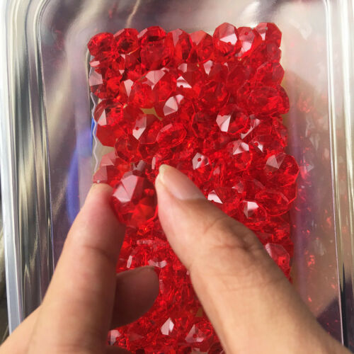 Chandelier Part Lamp Decor DIY Hanging 50Pc Ruby Red Glass CRYSTAL Octagon Bead