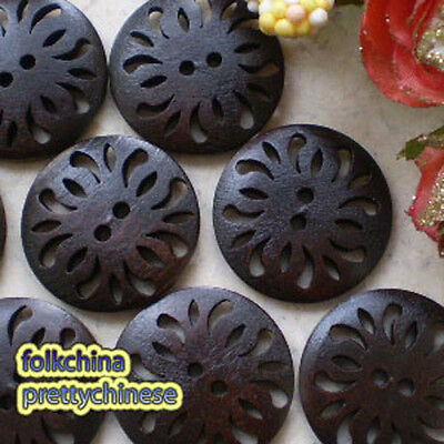 Brown Antique Totem 2 Hole Wood Button Sewing Scrapbooking Craft 25mm,30mm C002