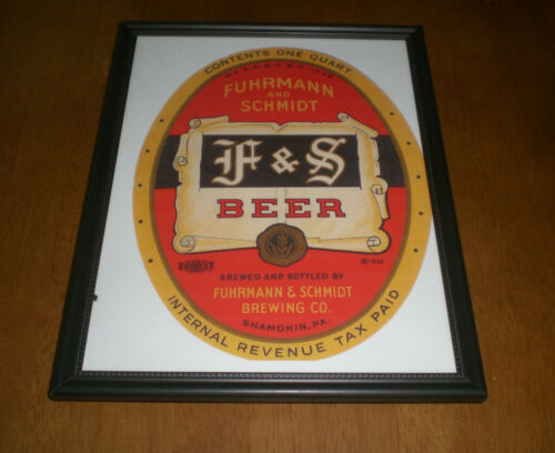 F /& S BEER AND ALE FRAMED COLOR AD PRINTS YOUR CHOICE FUHRMANN /& SCHMIDT