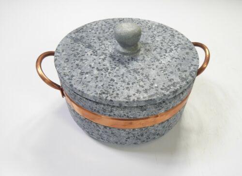 Specksteintopf mit Deckel u. Kupfergriffen Durchmesser ca.20,5cm Höhe ca.10cm #3