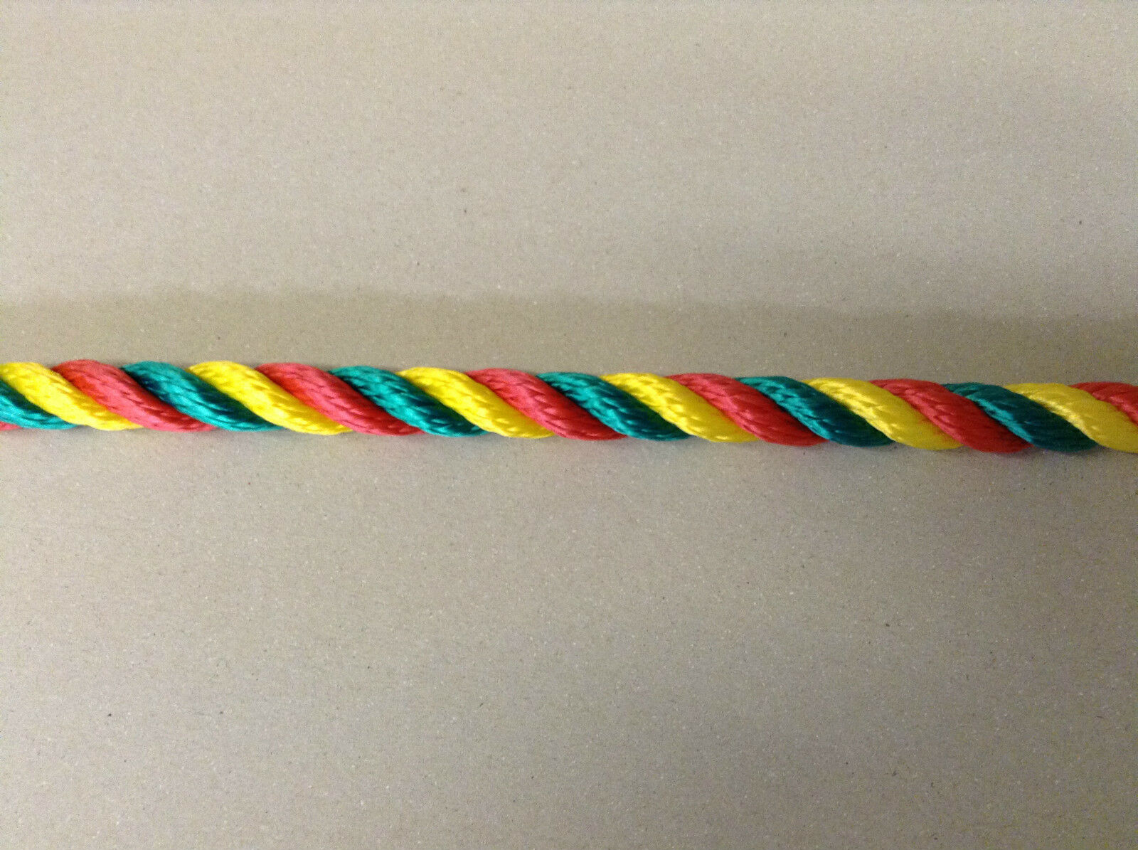 Multi-coloured 14 mm ROPE Yellow Red Green Narrow boat Fun Bright Colours