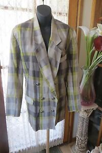 VINTAGE-80-039-S-GS-Check-Linen-Blend-JACKET-Size-16