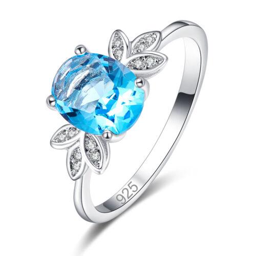 Pretty Fashion Ovale Cut Rainbow Bleu Blanc Topaz Gemme Argent Anneau Mariage