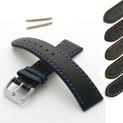 Genuine Leather Watch Strap Band Black with Stitching 18-30mm Width Straps