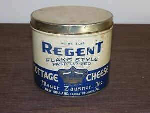 VINTAGE-KITCHEN-5-1-4-034-REGENT-MEYER-ZAUSNER-PA-COTTAGE-CHEESE-TIN-CAN-EMPTY