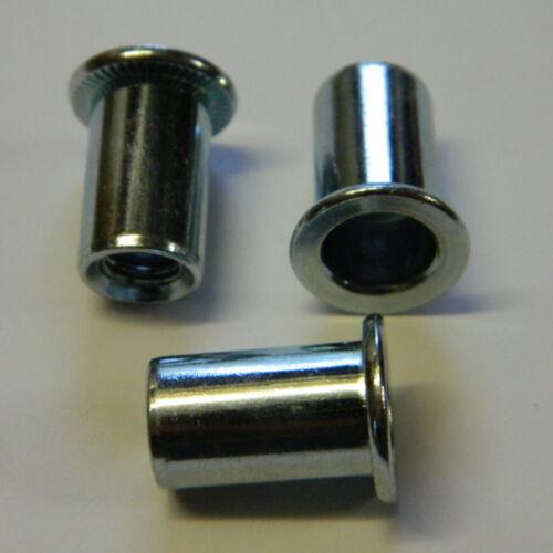 10 Stk Blindnietmuttern M3 Stahl verzinkt Flachkopf glatt klemmt 0,3-1,8mm