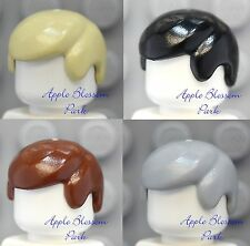 NEW Lego Lot/4 Minifig Boy SHORT HAIR - Tan Black Brown Gray Man Male Cap wigs