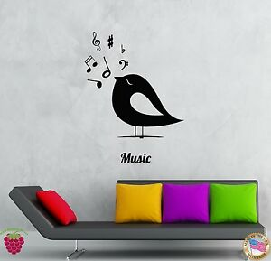 Wall Stickers Vinyl Decal Birds Notes Music Romantic Decor For Bedroom