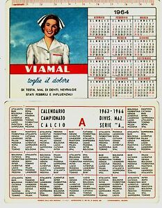 Calendario 1963.Details About 1964 Calendarietto Pub Viamal Denti Calendario Calcio Serie A 1963 64