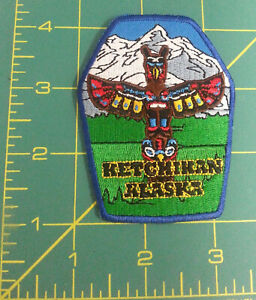 Ketchikan-Alaska-with-Totem-Pole-amp-Mountains-iron-on-style-Embroidered-Patch