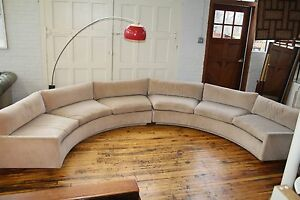 Image Is Loading Mid Century Modern Semi Circle Sectional Sofa Attributed