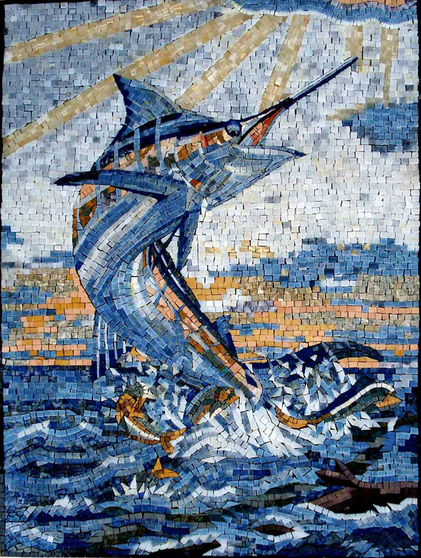 32 x 24  Handmade Sword Fish Bounce Sea Decor Marble Mosaic Art Tile Stone