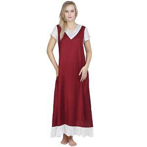 Woman-Maroon-A-Line-Nighty-Nightdress-Night-Wear-Gown-Plus-Size-S-7XL