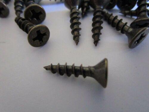 "bronze 25 Pcs Flat Head Phillips #6 x 5//8/"" Wood Screws Antique brass New"
