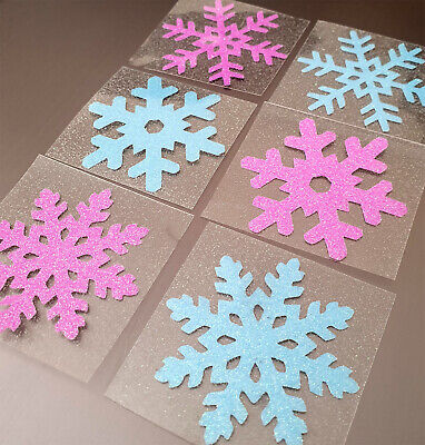 silver glitter Christmas frozen snowflake fabric iron tshirt transfer patch2inch