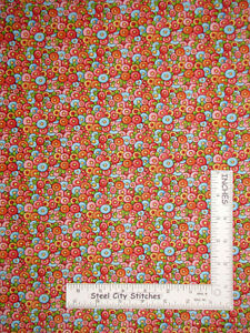 Mary-Engelbreit-Flowers-Pink-Blue-Cotton-Fabric-QT-Mary-039-s-Journey-By-The-Yard