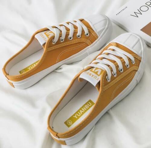 Womens Slip On Mules Trainers Sneakers Plimsolls Casual Canvas Shoes Pumps Size