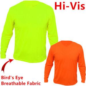 9bc61dd8e96f Safety Work Hi Vis High Visibility T Shirt Non ANSI Long Sleeve Neon ...