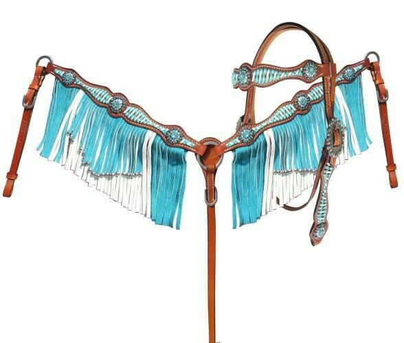 Showman TURQUOISE &  WHITE Leather Lacing & Fringe Headstall & Breast Collar Set   official authorization