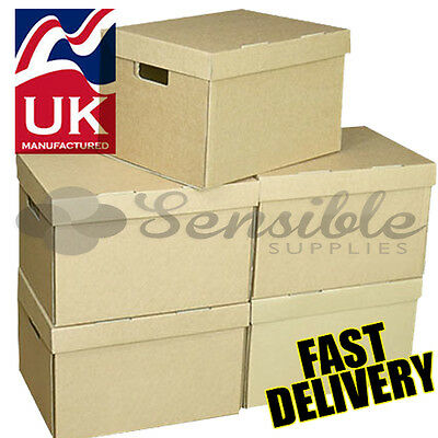 20 x STRONG ARCHIVE CARDBOARD STORAGE  BOXES WITH HANDLES & TRIPLE WALL SIDES