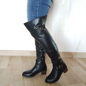 Dettagli su Stivali alti sopra al ginocchio cinturino, stivali al ginocchio tacco basso