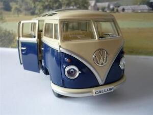 PERSONALISED-PLATE-Gift-Blue-VW-Camper-Van-Bus-17cm-1-24-Boys-Girls-Toy-Model