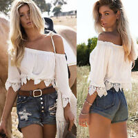 Women Lace Off-shouder Crop Top Short Sleeve T-shirt Summer Blouse Tee Tops 6-14