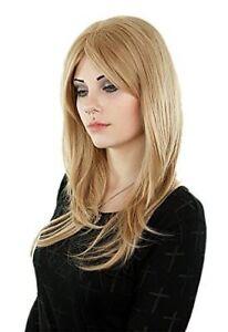 Blond Glatt Gewellt Lang Haar Perücke Gestuft Frisur Alltag Wig