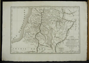 Engraving-Xixth-1822-Card-Judea-Earth-Sainte-Tribus-Ephaim-Gad-IN-Judaica-Fremin