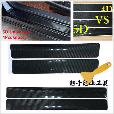 4pcs//Set Carbon Fiber Auto Car Scuff Plate Door Sill 5D Sticker Panel Protector
