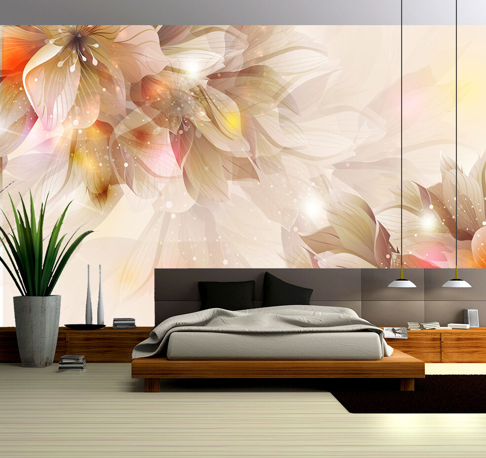 3D Overlapping flowers 34 Wall Paper Print Wall Decal Deco Indoor Wall Murals
