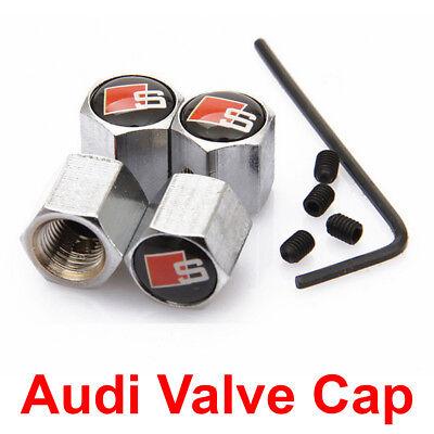 4x Silver Anti-theft Metal Car Wheel Tyre Tire Stem Air Valve Cap Dust Cover