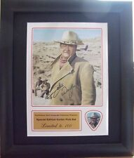 John Wayne Preprinted Autograph/Guitar Pick Display Mounted & Framed