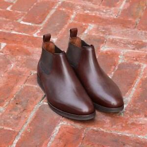 Chelsea-Boots-Handmade-Brown-Casual-Fashion-Party-Calf-Leather-Shoes-Mid-Height