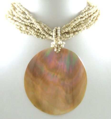 Natural Mother of Pearl Shell Round Pendentif Perles Collier Femmes Bijoux GA068